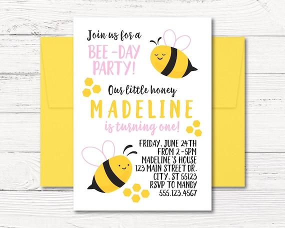 Bee invitation bumble bee birthday party invitation honey etsy image 0 filmwisefo