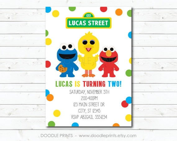 Sesame Street Invitation Elmo Big Bird Cookie Monster Birthday Party Invitation Boy Girl Customized Printable Invitation Size 5x7 Or 4x6