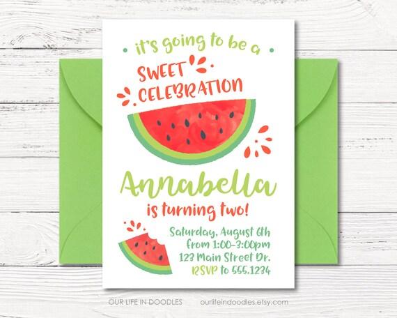 watermelon invitation watermelon birthday party invitation etsy