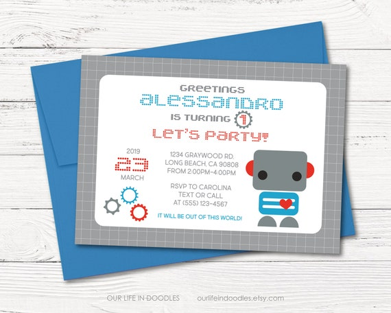 Robot Invitation Printable Birthday Party Customized Card Nuts And Bolts Boy Baby Shower 5x7 Or 4x6
