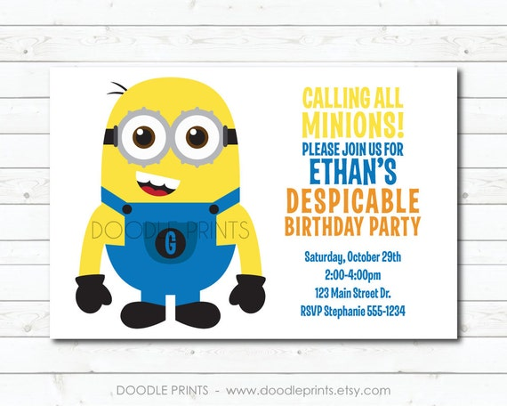 graphic about Printable Minion named Minion Invitation, Printable Minion Birthday Invitation
