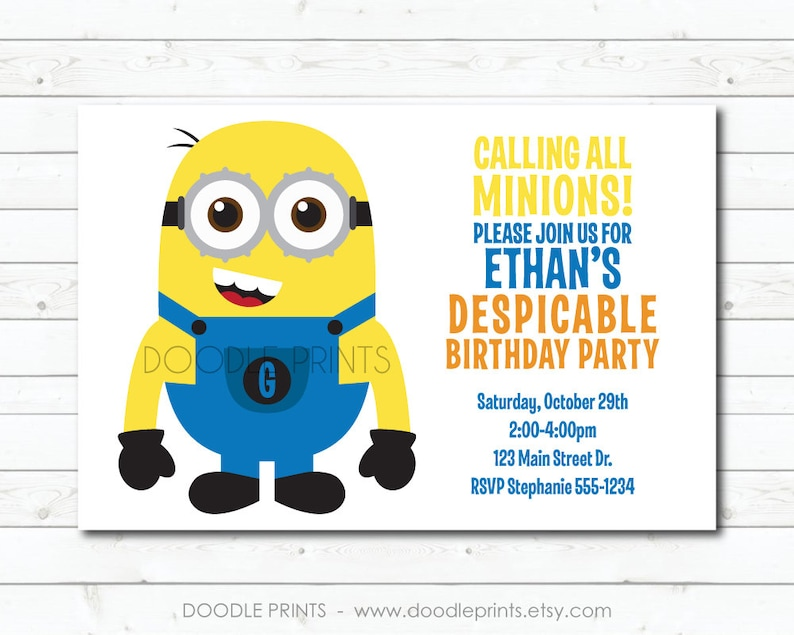 Minion Invitation Printable Minion Birthday Invitation Etsy