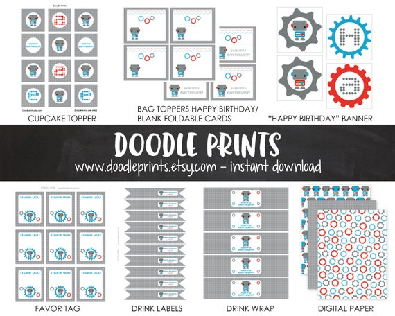 printable robot birthday party package robot party decor birthday
