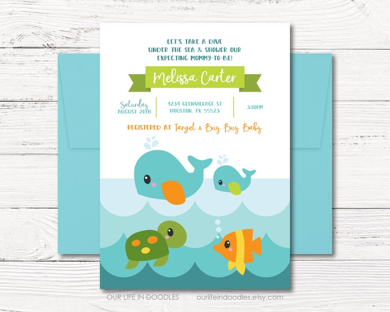 WHALE BABY SHOWER PARTY INVITATION INVITE PERSONALISED BOY GIRL SEA OCEAN CUTE