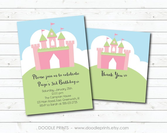 Princess Castle Invitation Printable PRINCESS Birthday