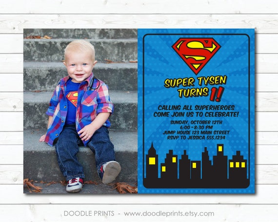 Super Man Invitation Picture Birthday Hero Party Heroes Justice League Superman Printable Digital Invite