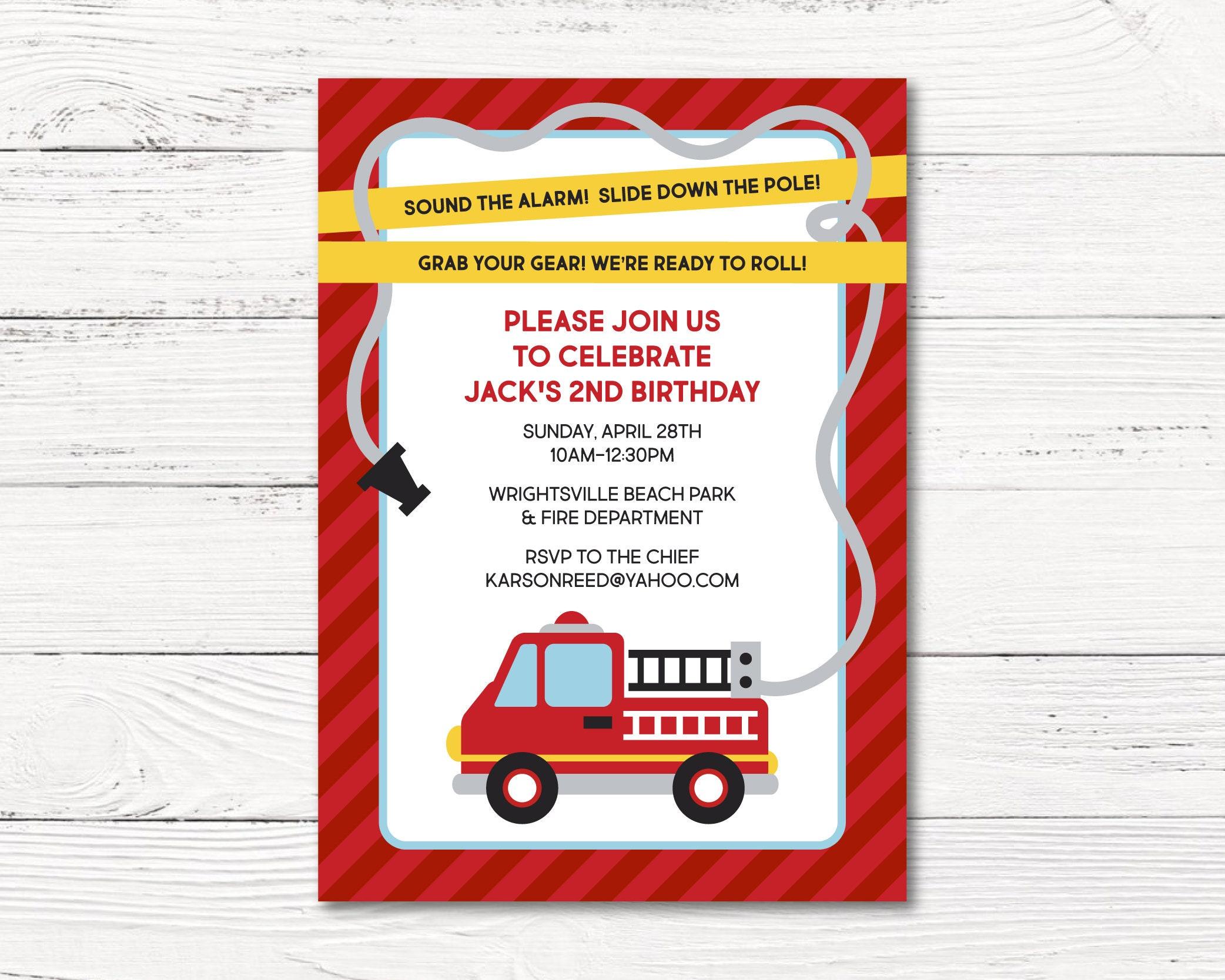 Fire Truck Invitation Fire Fighter Birthday Party Invitation   Etsy