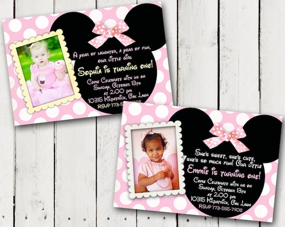 Baby minnie mouse 1st birthday party invitations etsy image 0 filmwisefo