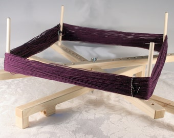 Portable Collapsible Yarn Swift with Steel Ball Bearings and peg storage