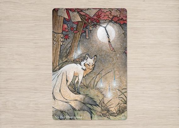 Fox & Wisps / Fox Spirit, Yokai, Foxfire / Japanese Style / 4x6 Glossy  Postcard Rounded Corners