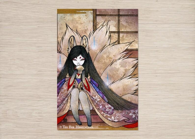 Hoshi no Tama / Kitsune Fox Girl, Yokai / Japanese Asian Style / 4x6 Lustre  Print