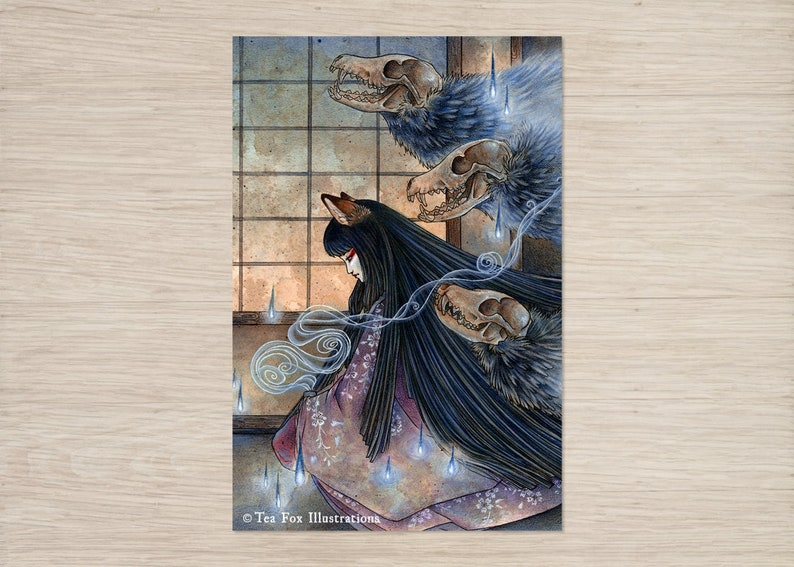 Unmasked / Kitsune Fox Girl Yokai / Japanese Asian Style / 4x6 Lustre Print