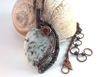 Dendritic Agate and recycled Copper Rose Pendant Necklace