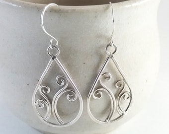 "Recycled Silver Spring Earrings Ferns ""Sorcha"" line Pretty Boho Jewelry"