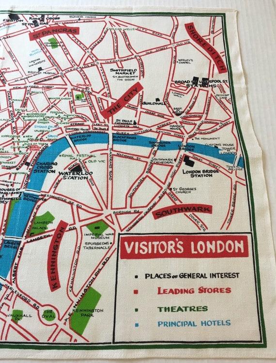 Visitors Map Of London.Vintage Ulster Visitors London Map Tea Towel