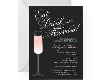 Eat Drink And Be Married Happy Hour Champagne Bridal Shower