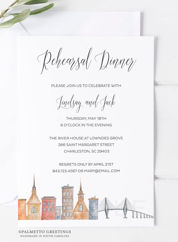Charleston South Carolina Wedding Rehearsal Dinner Invitations   Etsy