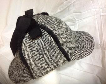 Tweed Herringbone Wool Deerstalker (Sherlock Holmes) Hat with Genuine Mink  Fur Ear Flaps and Grosgrain Ribbon Ties a3fc8c2a592f