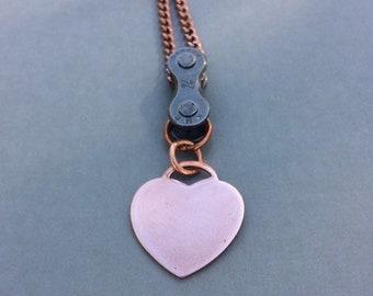 Heart bike necklace, mountain bike jewelry, fixie pendant, bicycle jewelry, bmx gift, road bike accessory, bike jewelry, cycling gifts