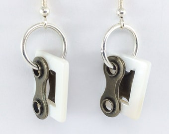 bicycle chain jewelry white shell cycling earrings rectangle bike jewelry, bmx earrings, mtb accessories, road bike jewelry