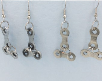 silver coloured Bicycle chain earrings, fixed gear earrings, bike chain earrings, bike accessory, bike chain jewelry, cycling gifts