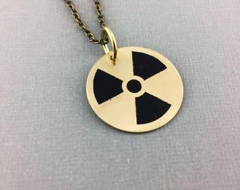 Radioactive symbol jewelry, radiation necklace, science accessories, hazard symbol jewelry, nuclear symbol, radiation therapist gift, nuke