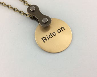 bicycle accessories, Ride on, bike necklace, mtb jewelry, fixie pendant, road bike necklace, bmx jewelry,
