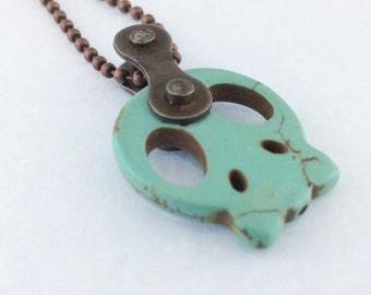 Skull bicycle chain necklace bike jewelry, skull cycling necklace, mountain bike pendant, bmx jewelry, road bike necklace