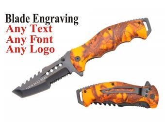 Knife Blade Engraved - Blade Engraving - Customized Knife - Tactical Knife with blade engraving - mens Hunting Knife - Gift for Men