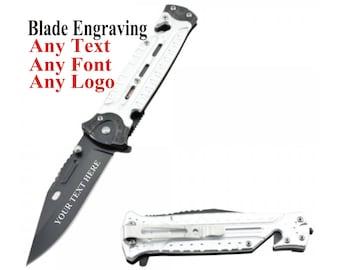 Pocket Knife Blade Engraved - Blade Engraving - Customized Knife - Tactical Knife with blade engraving - mens Hunting Knife - Gift for Men