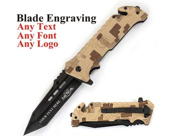 Tactical Knife Blade Engraved - Blade Engraving - Customized Knife - Tactical Knife with blade engraving - mens Hunting Knife - Gift for Men
