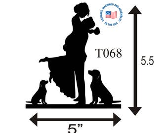 Wedding Cake Topper Personalized Silhouette Any two Pets -  Keepsake - Couple Silhouette - Groom and Bride