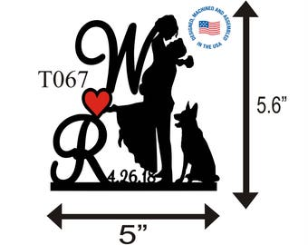 Wedding Cake Topper Personalized Silhouette With Wedding Date - Any Initial - Any Pet -  Keepsake - Couple Silhouette - Groom and Bride