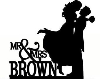 Custom Wedding Cake Topper , Couple Silhouette, Your last Name