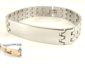 """Stainless Steel  Bracelet ID Tag 1.5""""x 0.5"""" - Engravable - Personalized - Custom"""