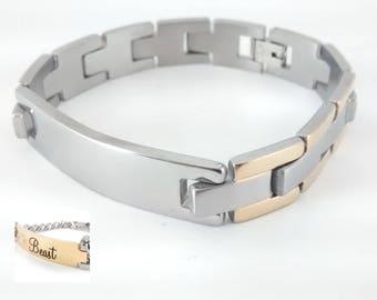 Stainless Steel  Bracelet ID Tag 2 tones - Engravable - Personalized - Custom