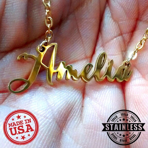 Stainless Steel name plate customized with your name Color Personalized initials pendant necklace charm