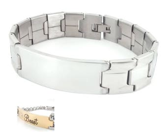 """Stainless Steel  Bracelet ID Tag 1.5""""x 0.75"""" - Engravable - Personalized - Custom"""