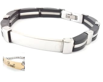 Stainless Steel / Rubber  Bracelet ID Tag - Engravable - Personalized - Custom
