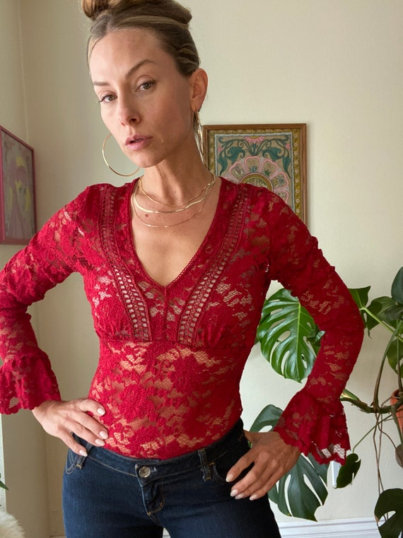 90's y2k Sheer Lace Red Bell Sleeve blouse SZ