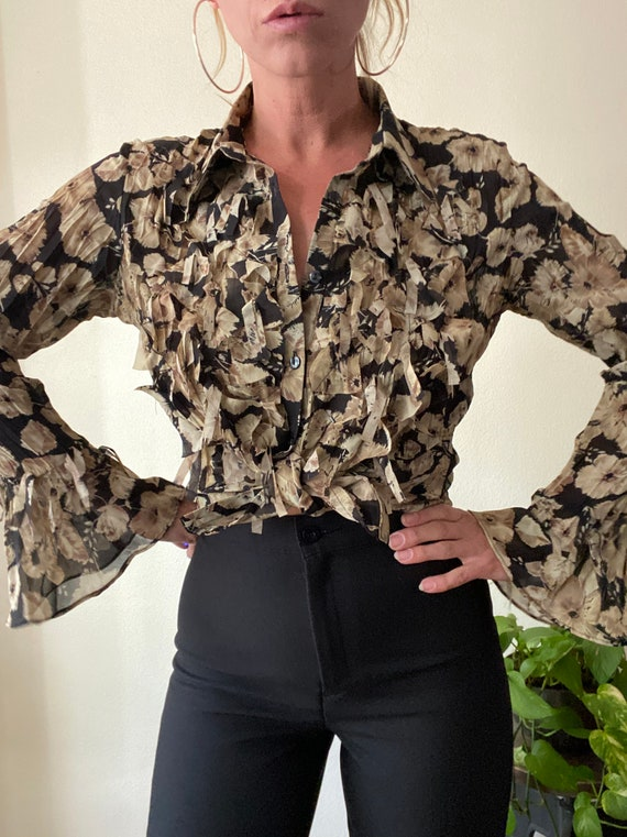 Y2k semi sheer floral bell sleeve beaded blouse