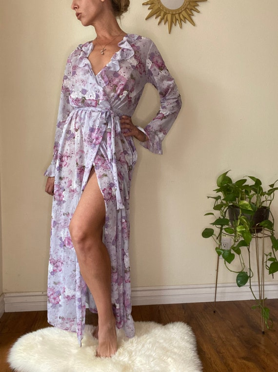 Sheer ruffle lilac floral wrap dress