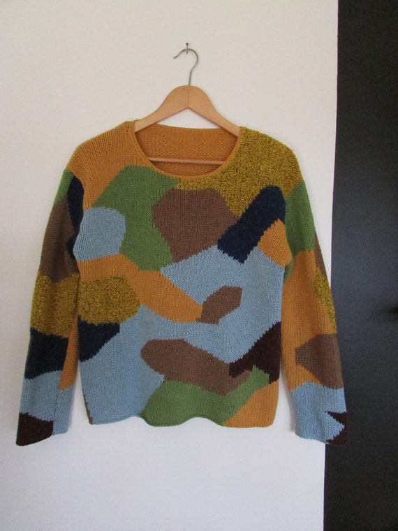 mustard abstract patchwork sweater