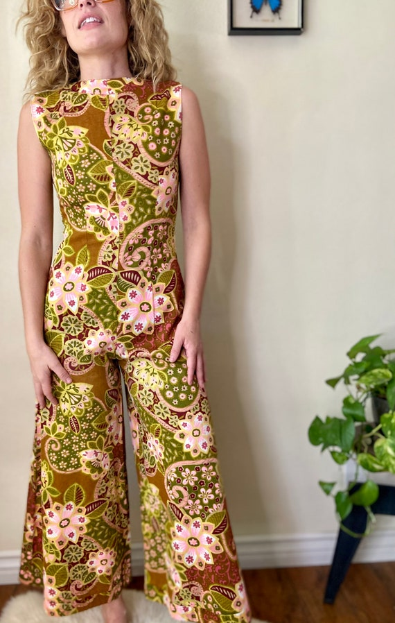 1960s Print wide leg palazzo pant suit