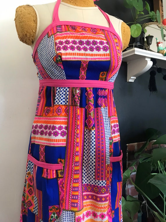 Psychedelic halter top dress