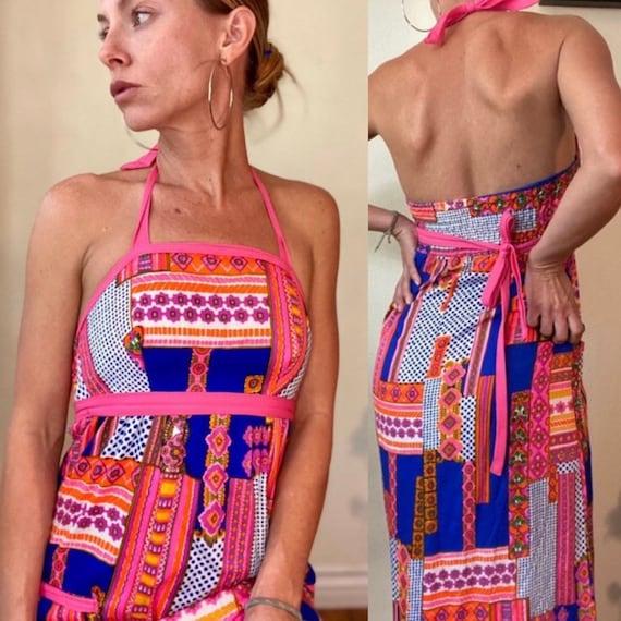 Psychedelic halter top dress - image 1