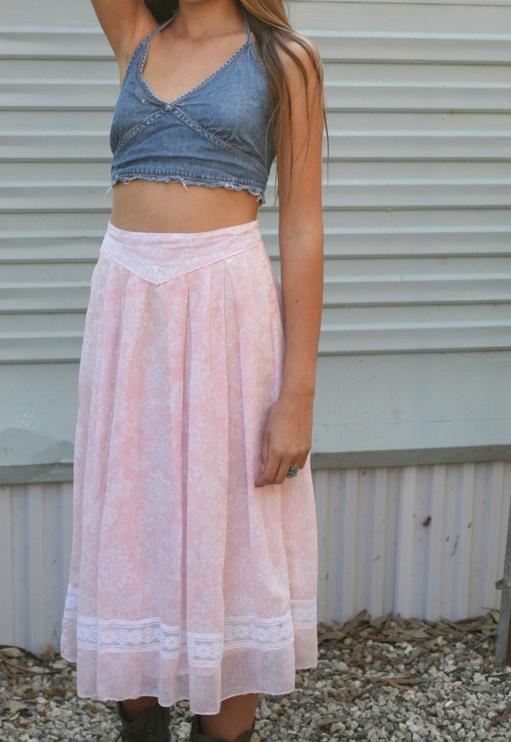 babies breath semi sheer pink gunne sax skirt