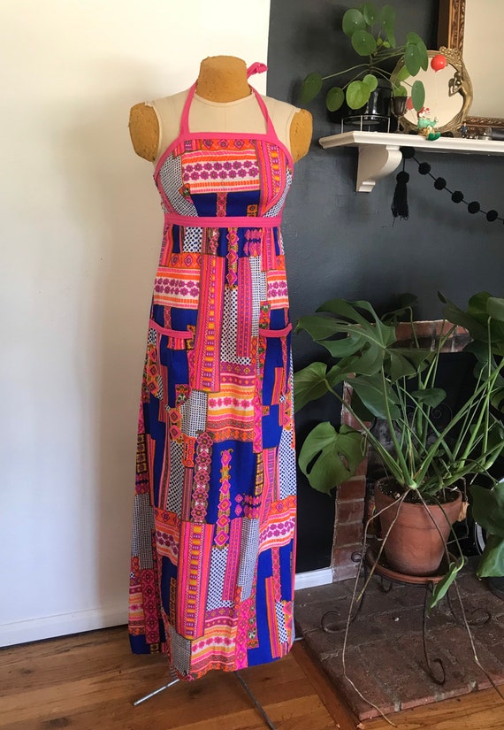 Psychedelic halter top dress - image 2