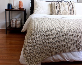 THE PENOBSCOT - OATMEAL (ready to ship) // Chunky Knit Crochet Wool Throw Blanket Afghan