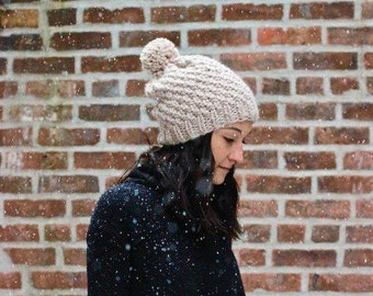 The Ipswich - LINEN // Semi-Slouchy Chunky Knit textured Beanie Hat wool pom pom